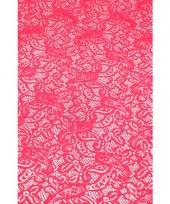 Buiten tafelloper fuchsia roze anti slip 150 x 40 cm