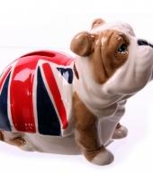 Bulldog spaarpotje met union jack vlag