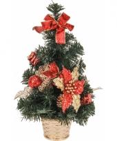 Bureau kerstboompje rode decoratie 40 cm