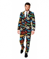 Business suit met comic print