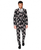 Business suit met doodshoofden print