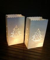 Candle bags set wit met kerstboom