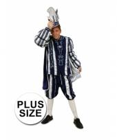 Carnavalkostuum prins blauw wit grote maat