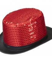 Carnavalshoed rood met pailletten