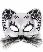 Catwomen oog masker zilver van kunstof