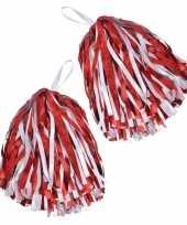 Cheerballs pom poms in het rood wit