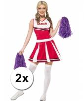 Cheerleader pompoms paars 2x