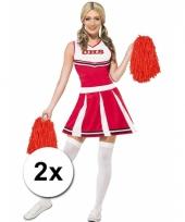 Cheerleader pompoms rood 2x
