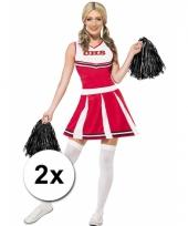 Cheerleader pompoms zwart 2x