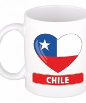 Chileense vlag hartje koffiemok 300 ml