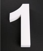 Cijfer 1 wit piepschuim