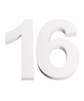 Cijfer 16 wit piepschuim