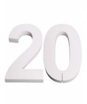 Cijfer 20 wit piepschuim