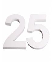 Cijfer 25 wit piepschuim