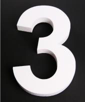 Cijfer 3 wit piepschuim
