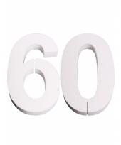 Cijfer 60 wit piepschuim