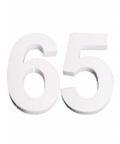 Cijfer 65 wit piepschuim