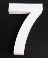 Cijfer 7 wit piepschuim