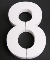 Cijfer 8 wit piepschuim