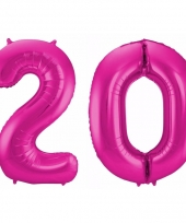 Cijfer ballonnen 20 jaar 86 cm