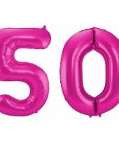 Cijfer ballonnen 50 jaar 86 cm