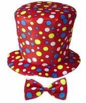 Clown verkleed hoed met strik rood