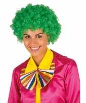 Clownspruik met groene krulletjes verkleed accessoire