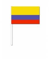 Colombia zwaai vlaggetjes 12 x 24 cm