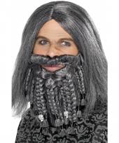 Complete grijze piraten pruik met baard