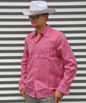 Cowboy outfit roze blouse voor heren