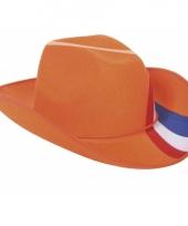 Cowboyhoed oranje rood wit blauw