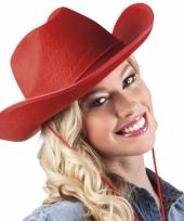 Cowboyhoed rood voor volwassenen