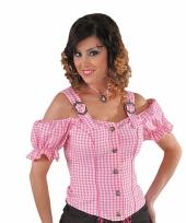 Cowgirl blouse voor dames zonder mouwen roze