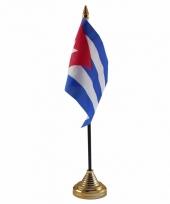 Cuba tafelvlaggetje 10 x 15 cm met standaard