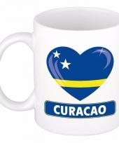 Curacao vlag hartje koffiemok 300 ml