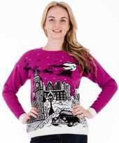 Dames kerstmis trui paars london