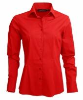 Dames overhemd rood van l s