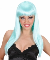 Dames pruik lichtblauw lang haar