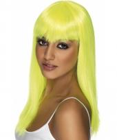 Dames pruik neon geel