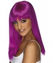 Dames pruik paars lang haar