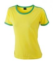 Dames shirtje geel met groen