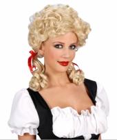 Damespruik boerin blond met staartjes
