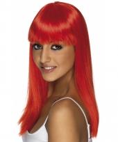 Damespruik lang haar neon rood
