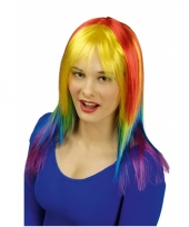 Damespruik met regenboog kleuren