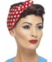 Damespruik met rood witte haarband