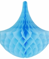 Decoratie chandelier lichtblauw 35 cm