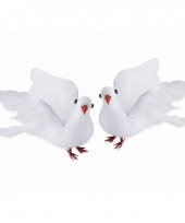 Decoratie duivenpaar 20 cm