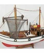 Decoratie houten model kotter zeilboot 39 cm