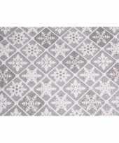 Decoratie stof zilver ruit patroon met glitters 30 x 270 cm