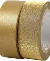 Decoratie tape goud met glitters 2 rollen
